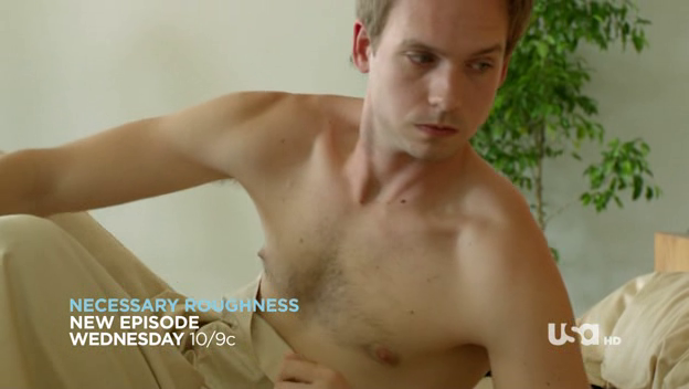 Patrick J. Adams as Mike Ross shirtless in Suits