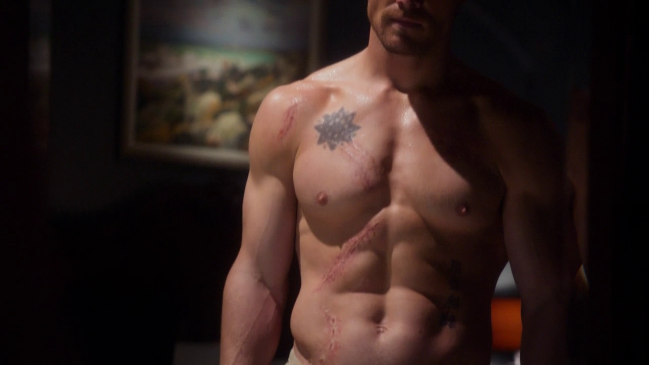 "Stephen Amell as Oliver Queen/Arrow shirtless in Arrow 1×01 ""Pilot"""