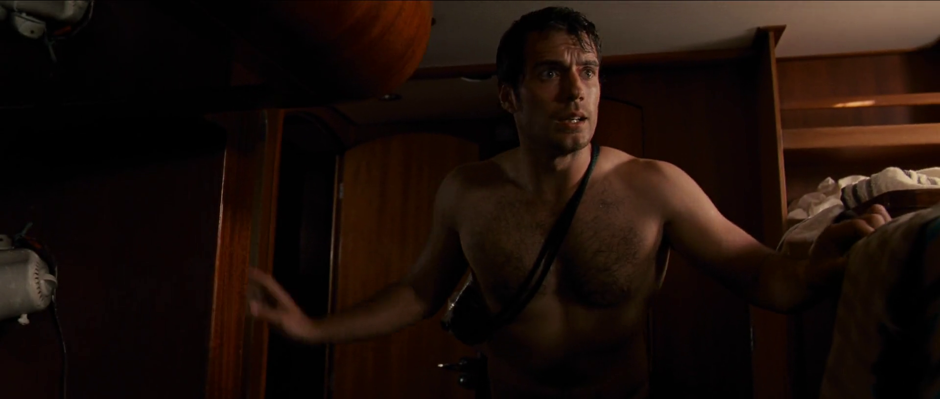 Henry Cavill as Will Shaw shirtless in The Cold Light of Day