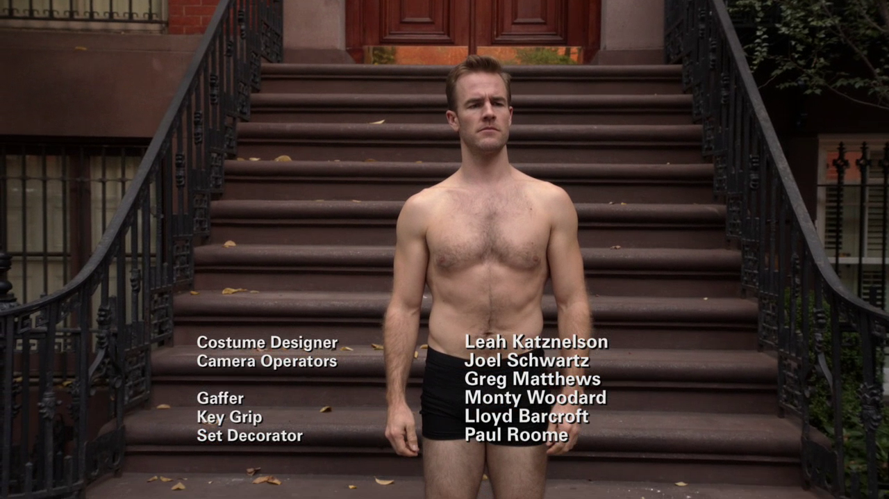 "James Van Der Beek as James Van Der Beek and Eric Andre as Mark Reynolds shirtless in Don't Trust the Bitch in Apartment 23 2×08 ""Paris…"""