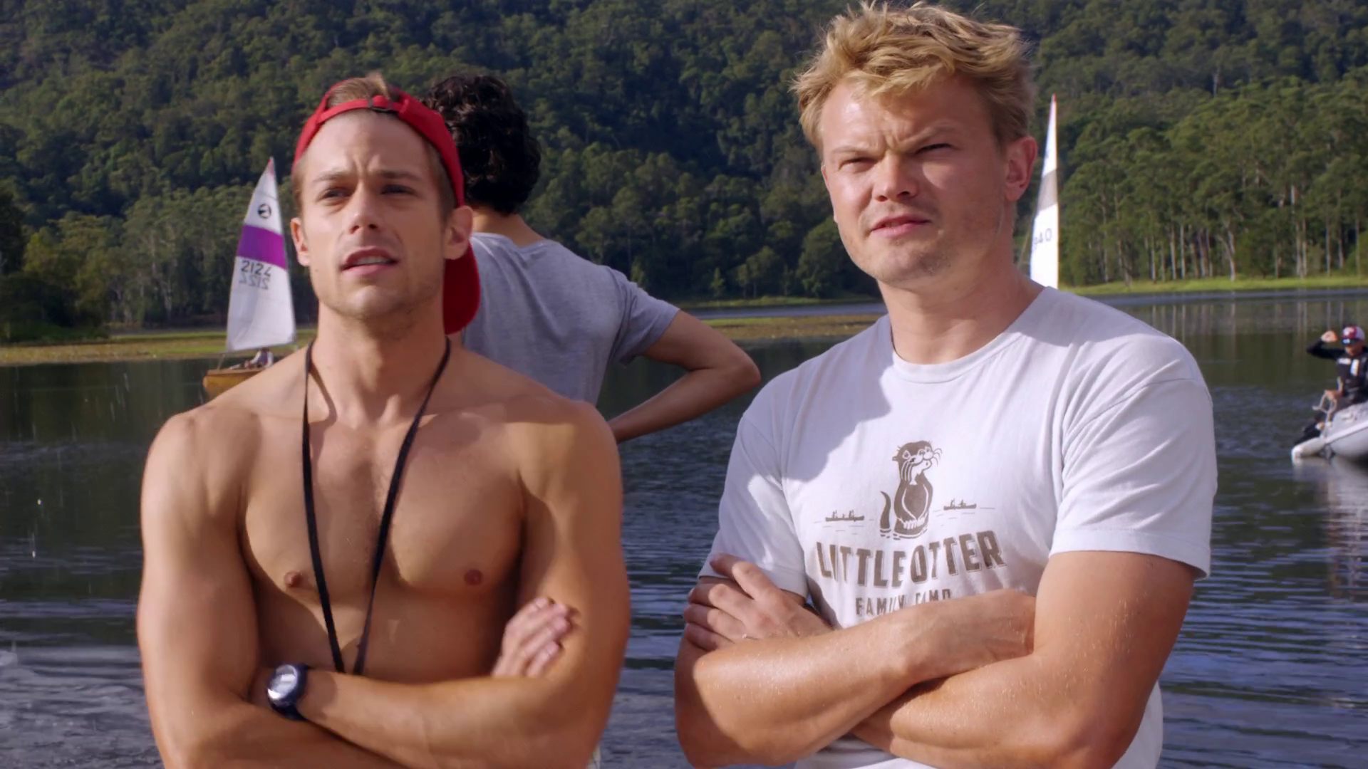 "Tim Pocock as Robbie Matthews and Thom Green as Kip Wampler shirtless in Camp 1×03 ""The Mixer"""