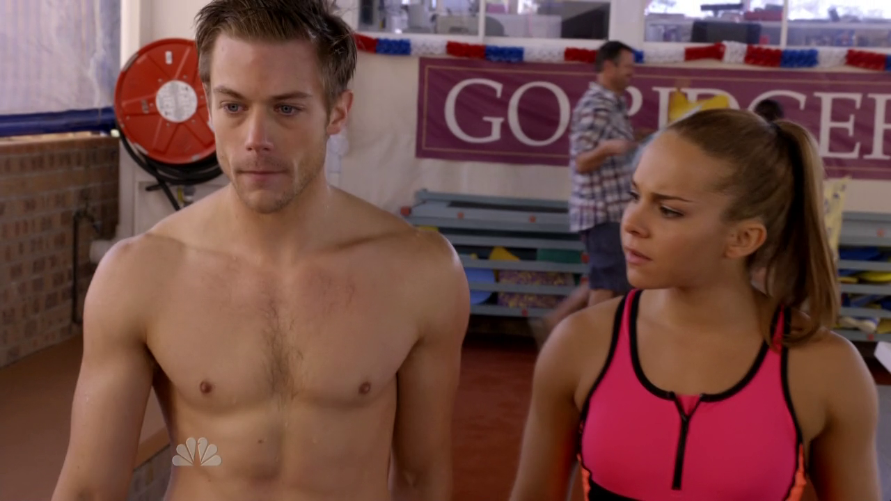 "Tim Pocock as Robbie Matthews and Adam Garcia as Todd shirtless in Camp 1×10 ""Last Days of Summer"""