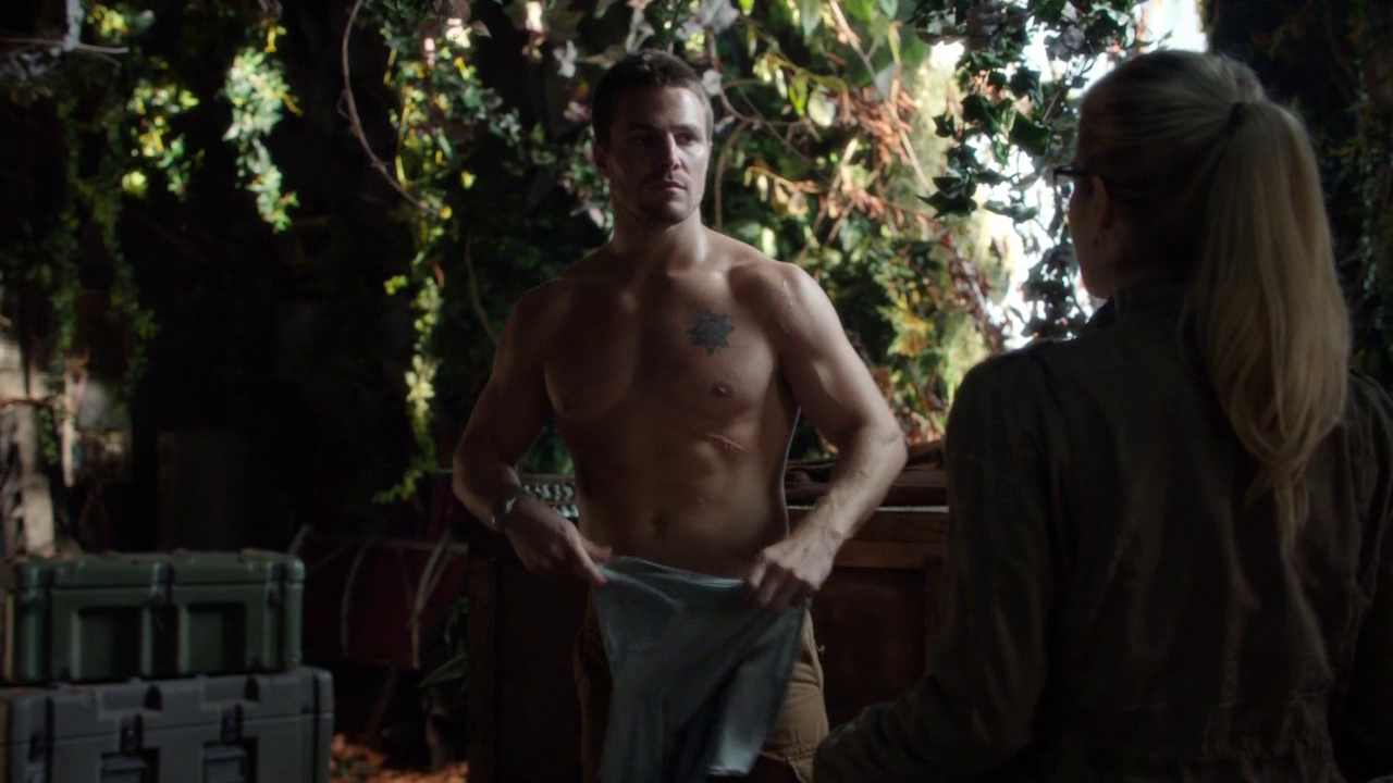 "Stephen Amell as Oliver Queen/Arrow shirtless in Arrow 2×01 ""City of Heroes"""