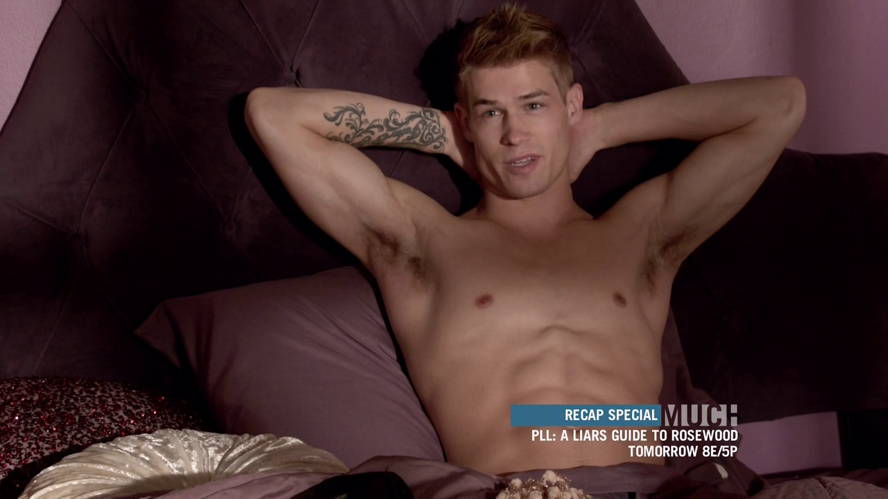 "Max Carver as Aidan, Charlie Carver as Ethan and Erik A. Williams shirtless in Teen Wolf 3×01 ""Tattoo"""