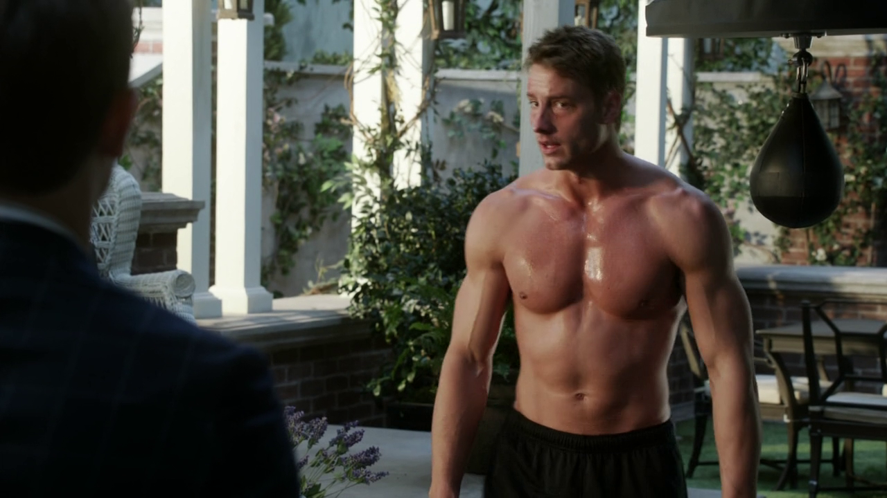 "Justin Hartley as Patrick Osbourne shirtless in Revenge 3×15 ""Struggle"""