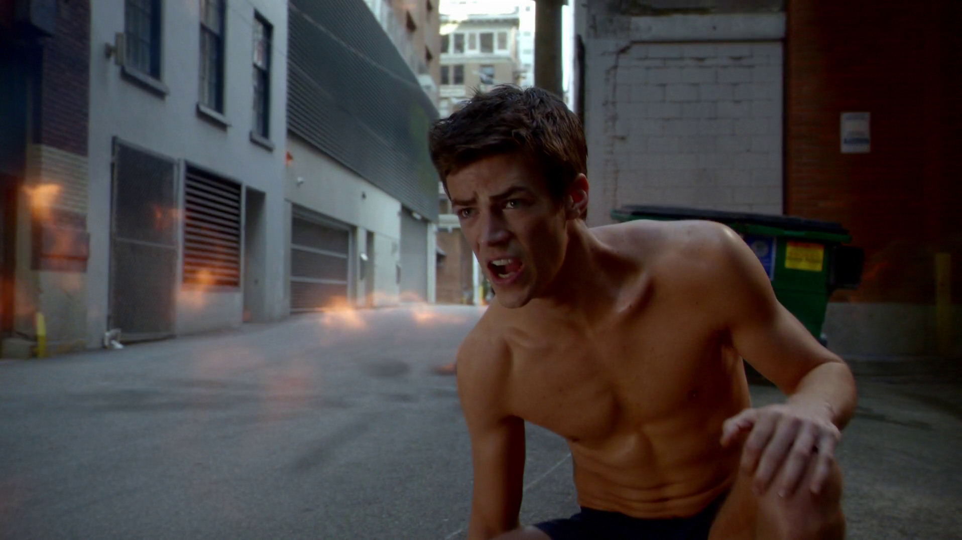 Grant Gustin as Barry Allen/Flash shirtless in The Flash 1