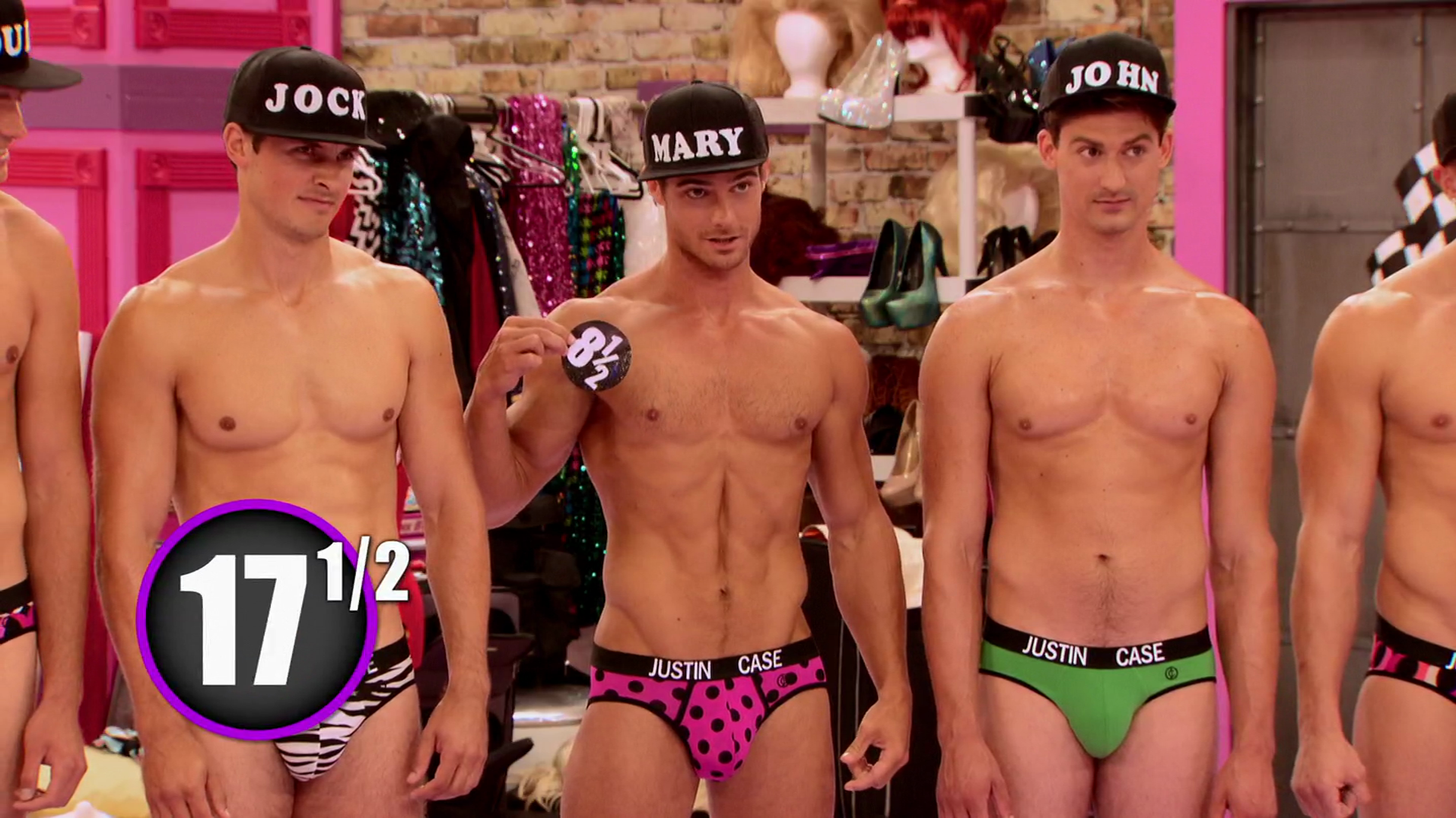 RuPaul's Drag Race (season 7) Bryce Eilenberg & Jason Carter and the rest of the Scruff Pit Crew shirtless in 7×06 Ru Hollywood Stories