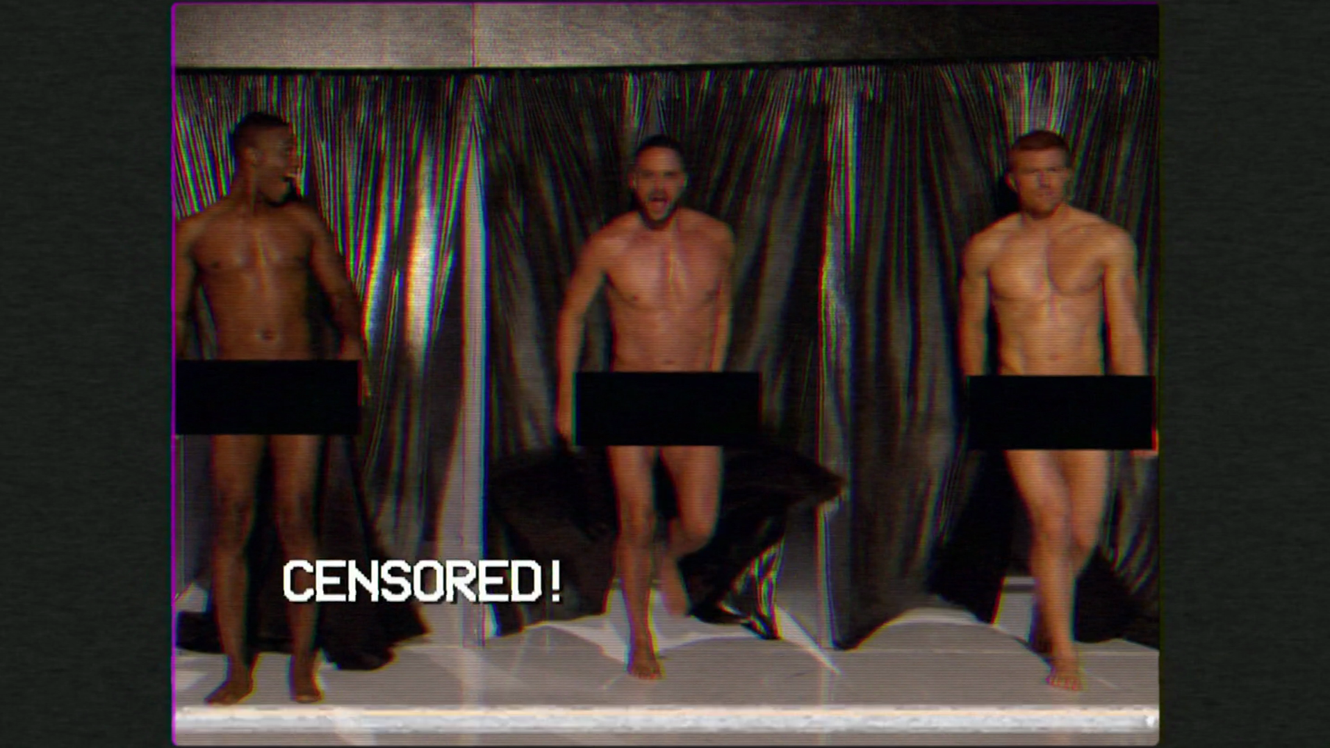 "RuPaul's Drag Race (season 7) Bryce Eilenberg, Jason Carter & Miles Davis Moody (Scruff Pit Crew) shirtless in 7×13 ""Countdown To The Crown"""