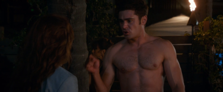 "Zac Efron as David ""Dave O"" Stangle shirtless in Mike and Dave Need Wedding Dates"