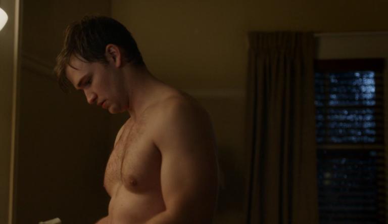 "Burkely Duffield as Holden Matthews shirtless in Beyond 1×03 ""Ties That Bind"""