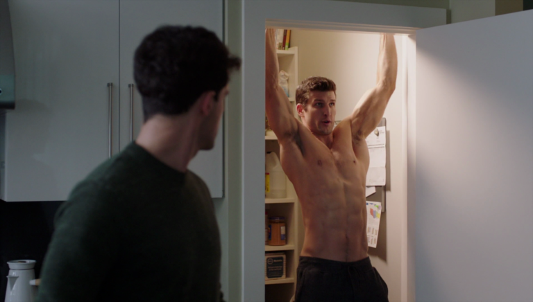 "Parker Young as Richard shirtless in Imposters 1×01 ""My So-Called Wife"""