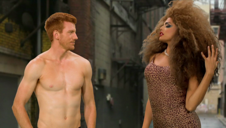 "RuPaul's Drag Race (season 9) Scruff Pit Crew shirtless in 9×09 ""Your Pilot is on Fire"""