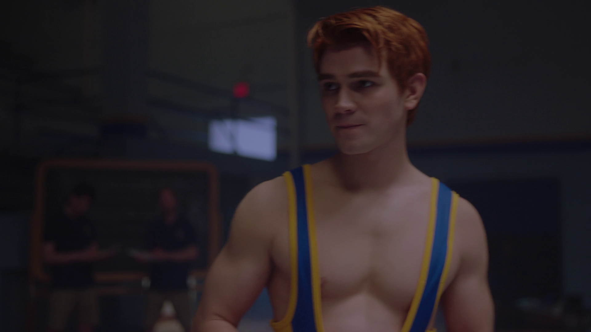 "KJ Apa as Archie Andrews & Jordan Calloway as Chuck Clayton shirtless and bonus Casey Cott as Kevin Keller in Riverdale 2×11 ""Chapter Twenty-Four: The Wrestler"""