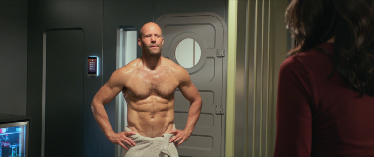 Jason Statham as Jonas Taylor shirtless in The Meg