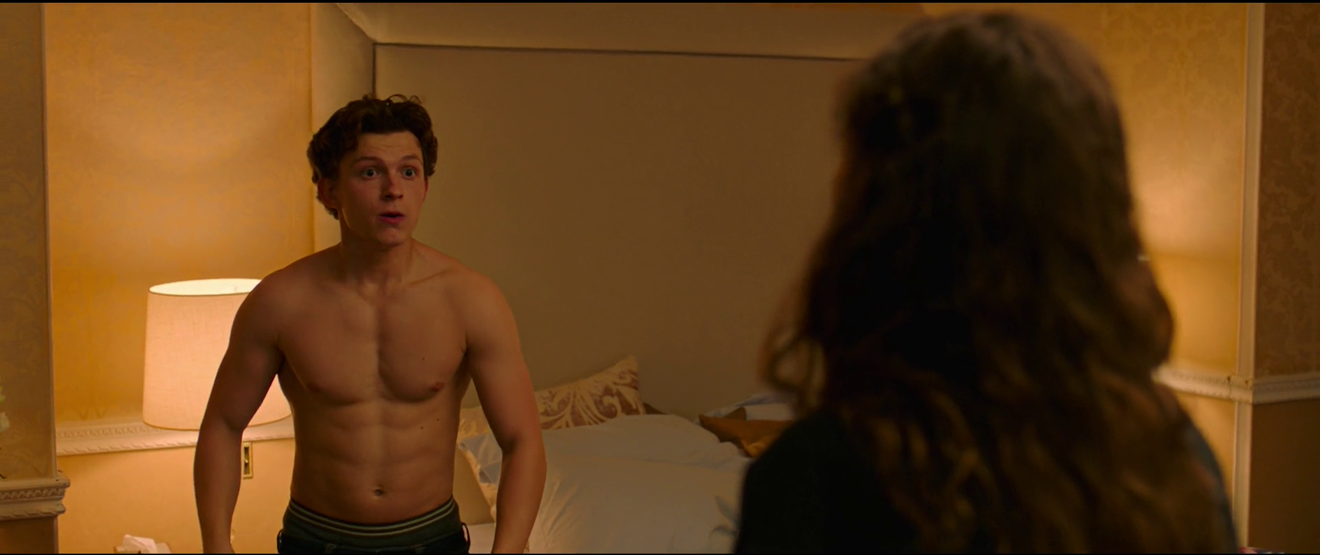 Tom Holland as Peter Parker/Spider-Man shirtless in Spider-Man: Homecoming